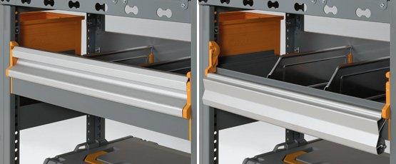 Portello ribaltabile in alluminio per scaffalatura furgoni