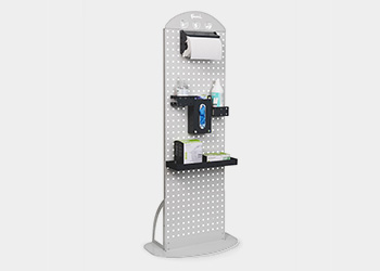 Hand sanitizer station with disposable glove dispenser