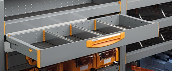 Van equipment - Fully extractable drawers