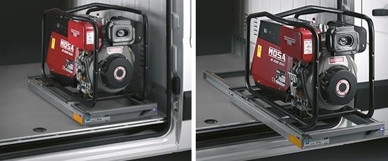 allestimenti furgoni - sistema estraibile orizzontale per vano di carico