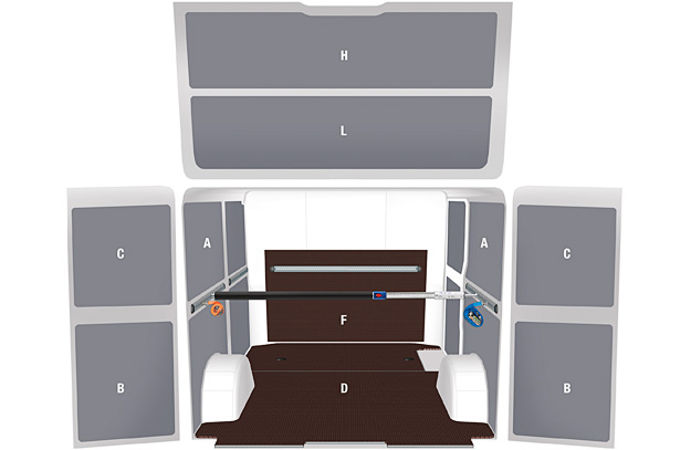 Floor and panels for medium vans