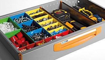 Beispiele für Schubladen. Teilern E4 für Schubladen serie S4