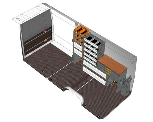 Vista 45° sinistra dell'allestimento Mercedes-Benz Sprinter per manutenzione di celle frigorifere