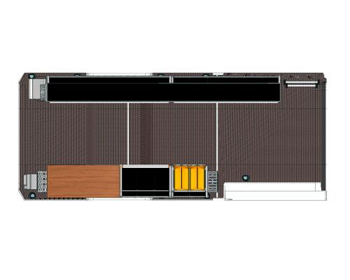 Vista in pianta dell'allestimento Mercedes-Benz Sprinter per manutenzione di celle frigorifere