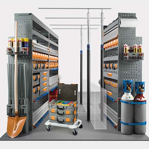 MOBILE, Integrated outfitting with hardware storage cases and trolleys