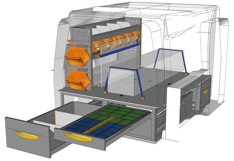Fahrzeugeinrichtungen Opel Combo soluzione Floor up PA L1H1 F2 altezza 350 mm